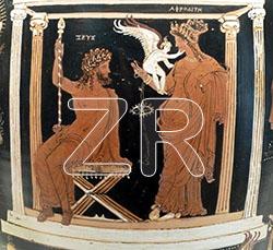 6527. Zeus and Ephrodite, Greek vase painting